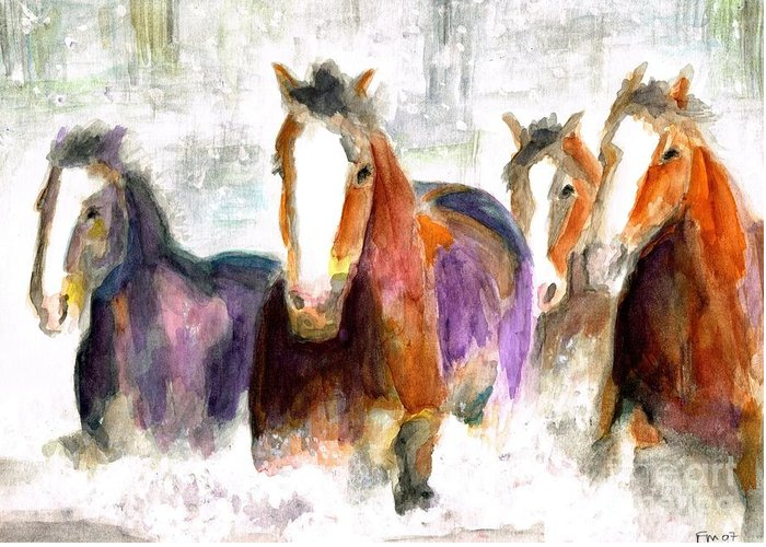 Horses Greeting Card featuring the painting Snow Horses by Frances Marino