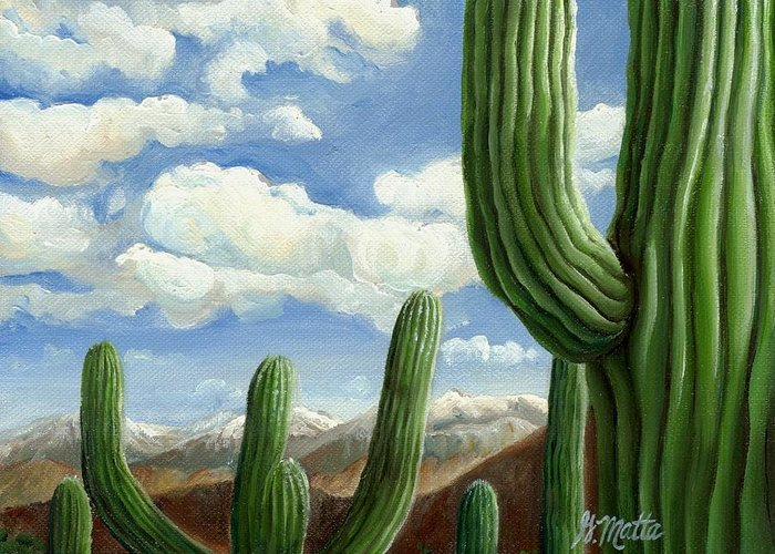 Landscape Greeting Card featuring the painting Snow In Arizona by Gretchen Matta