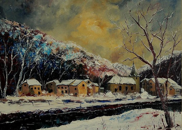 Winter Greeting Card featuring the painting Snow In Bohan by Pol Ledent