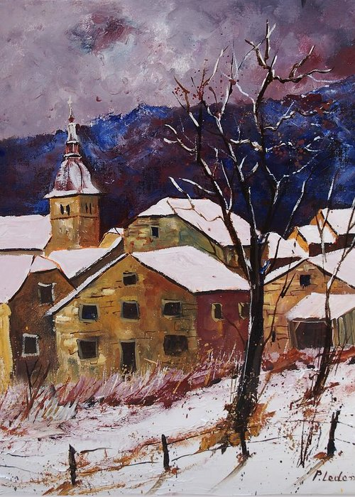 Landscape Greeting Card featuring the painting Snow In Chassepierre by Pol Ledent