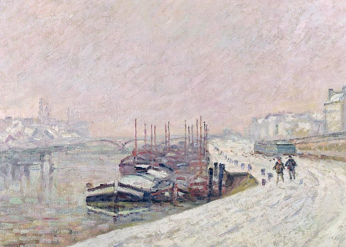 Snow Greeting Card featuring the painting Snow In Rouen by Jean Baptiste Armand Guillaumin