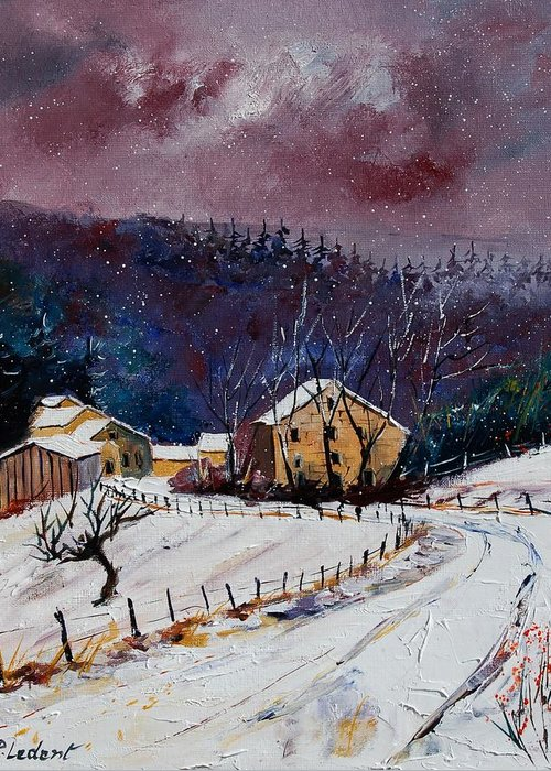 Landscape Greeting Card featuring the painting Snow In Sechery by Pol Ledent