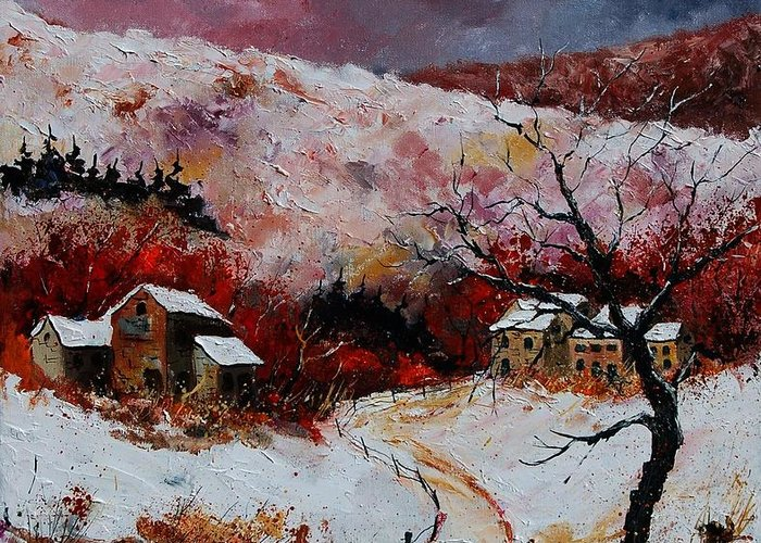 Snow Greeting Card featuring the painting Snow In The Ardennes 78 by Pol Ledent