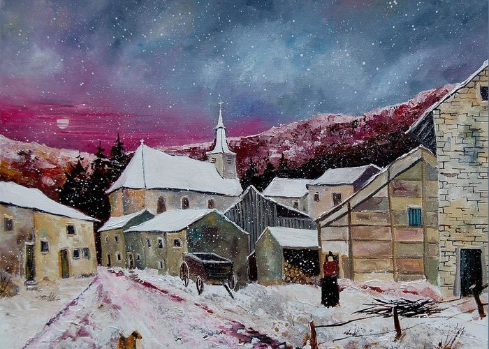 Snow Greeting Card featuring the painting Snow Is Falling by Pol Ledent
