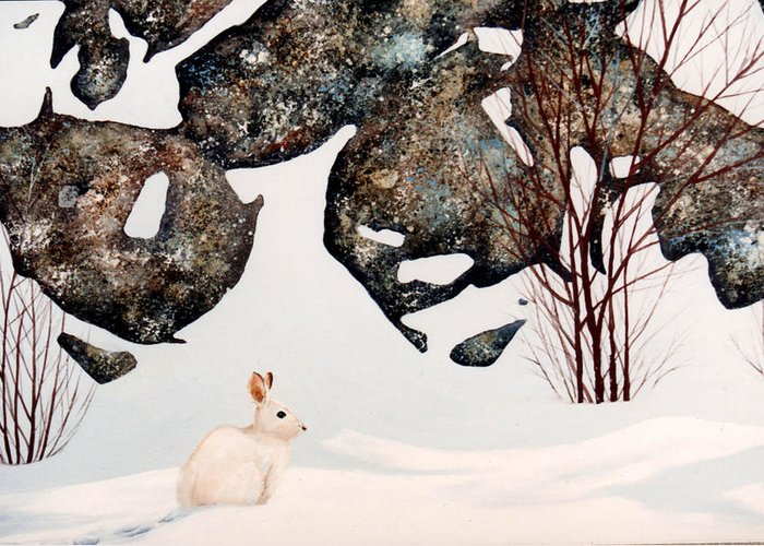 Wildlife Greeting Card featuring the painting Snow Ledges Rabbit by Frank Wilson