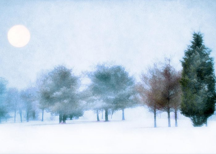 Snow Greeting Card featuring the photograph Snow Moon by Darren Fisher