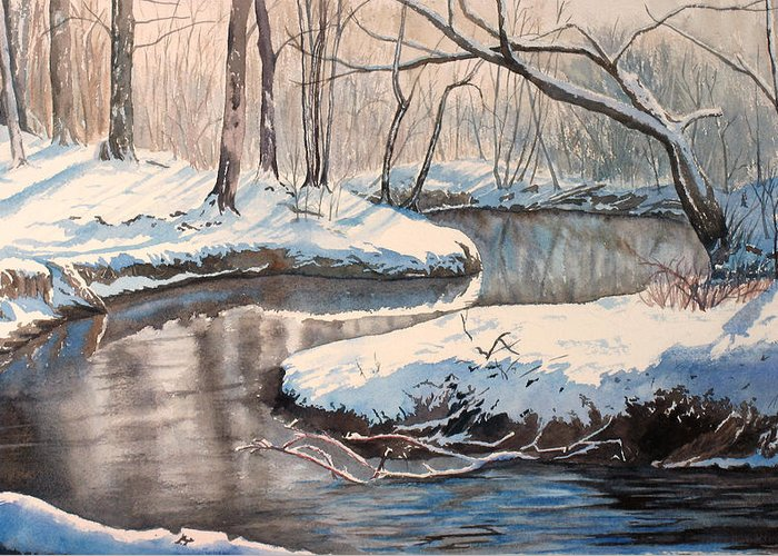 Snow Greeting Card featuring the painting Snow On Riverbank by Debbie Homewood
