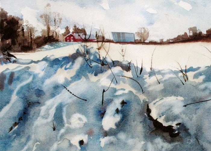 Snow Greeting Card featuring the painting Snow On Southwick by Elizabeth Carr