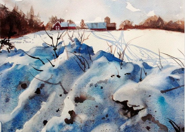 Snow Greeting Card featuring the painting Snow On Southwick I by Elizabeth Carr