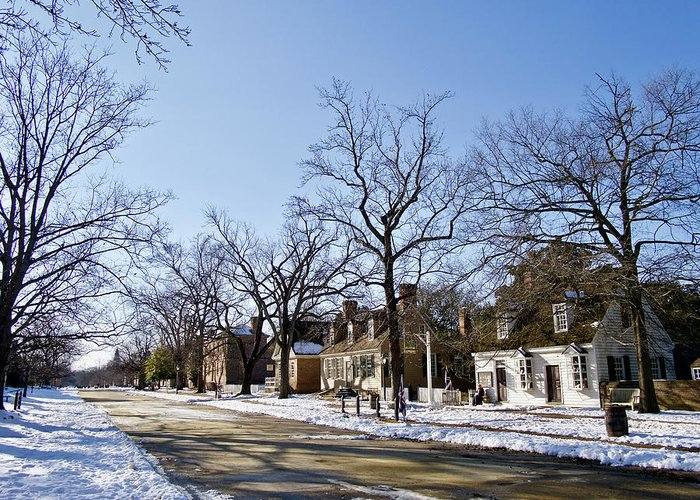Colonial Williamsburg Greeting Card featuring the photograph Snow On The Duke Of Gloucester Street by Rachel Morrison