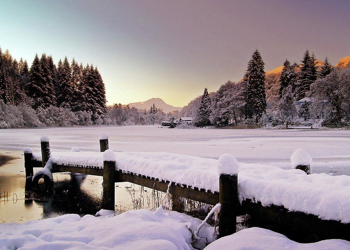 Loch Ard Greeting Card featuring the photograph Snow Over Loch Ard by Amanda Finan