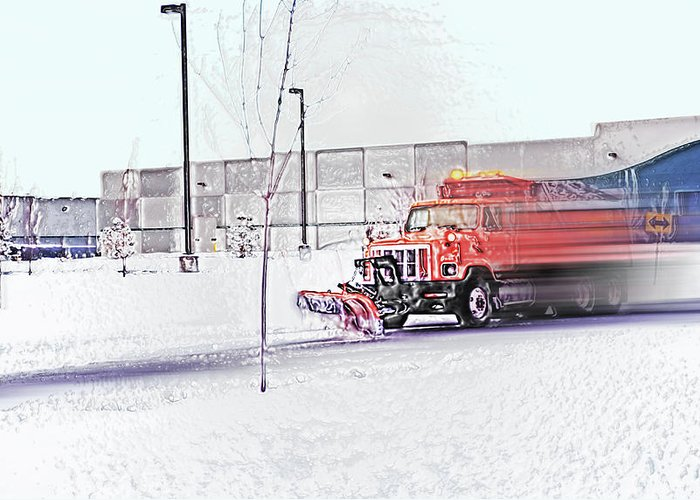 Winter Greeting Card featuring the photograph Snow Plow In Business Park 1 by Steve Ohlsen