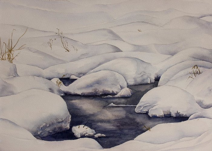Snow Greeting Card featuring the painting Snow Pool by Debbie Homewood