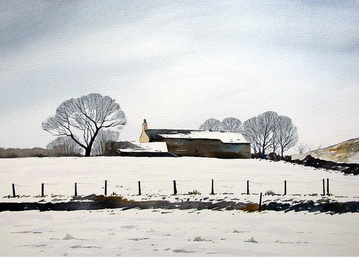 Winter Scene Greeting Card featuring the painting Snow Scene Barkisland by Paul Dene Marlor