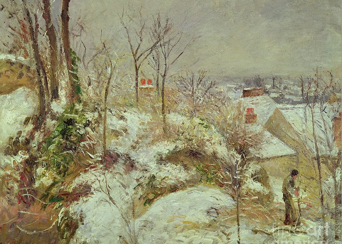 Snow Greeting Card featuring the painting Snow Scene by Camille Pissarro