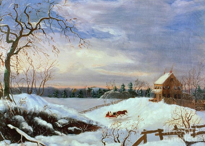 Snow Greeting Card featuring the painting Snow Scene In New England by American School