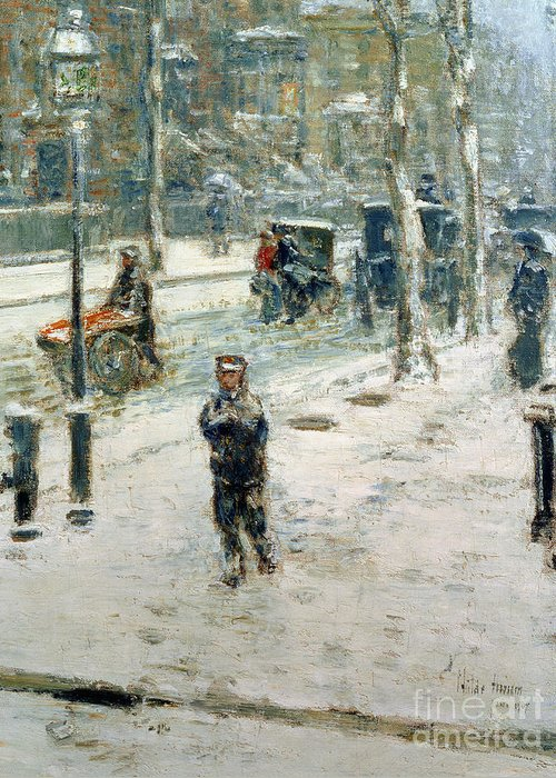 Snow Storm Greeting Card featuring the painting Snow Storm On Fifth Avenue by Childe Hassam