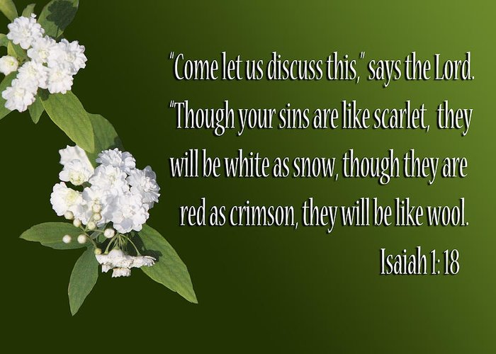 Scripture Greeting Card featuring the photograph Snow White Flowers Is. 1v18 by Linda Phelps