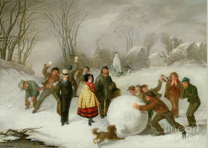 Snowballing Greeting Card featuring the painting Snowballing  by Cornelis Kimmel
