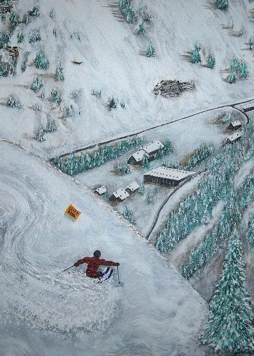 Ski Greeting Card featuring the painting Snowbird Steeps by Michael Cuozzo