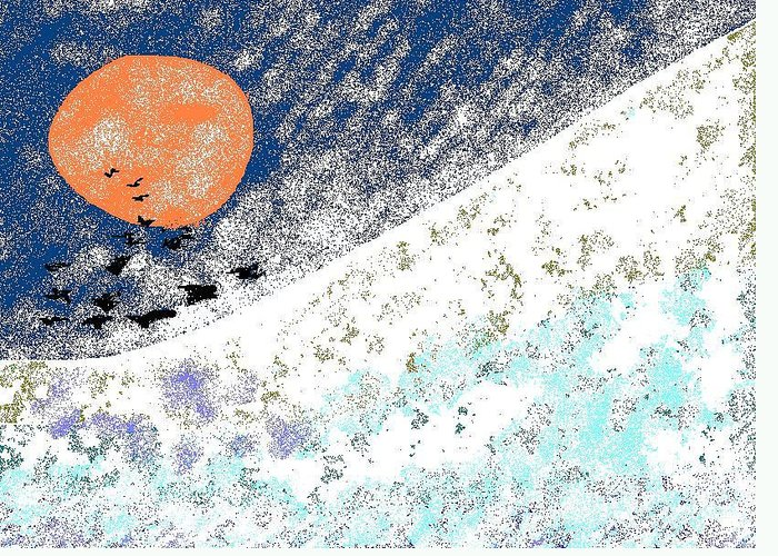 Blizzard Greeting Card featuring the digital art Snowbirds by Beebe Barksdale-Bruner