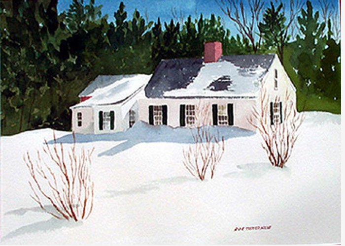 Landscape Greeting Card featuring the painting Snowbound by Anne Trotter Hodge