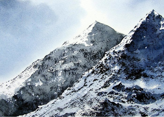 Snowdon Greeting Card featuring the painting Snowdon by Paul Dene Marlor