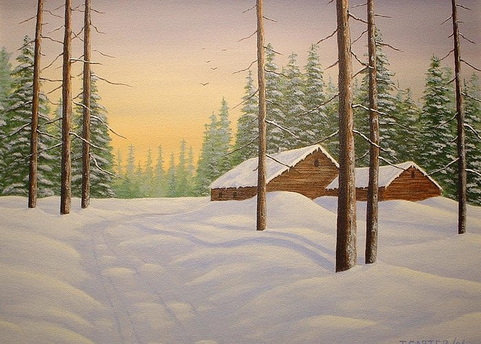Cabin Greeting Card featuring the painting Snowed In Carter by John Carter