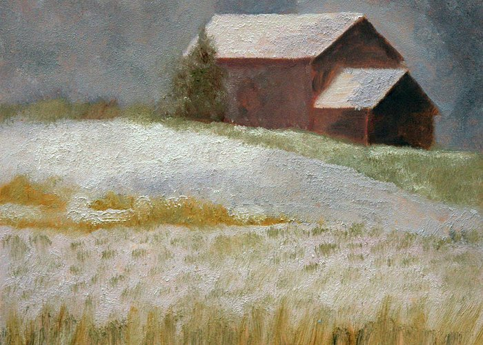 Landscape Greeting Card featuring the painting Snowfall In The Valley by Mark Hunter