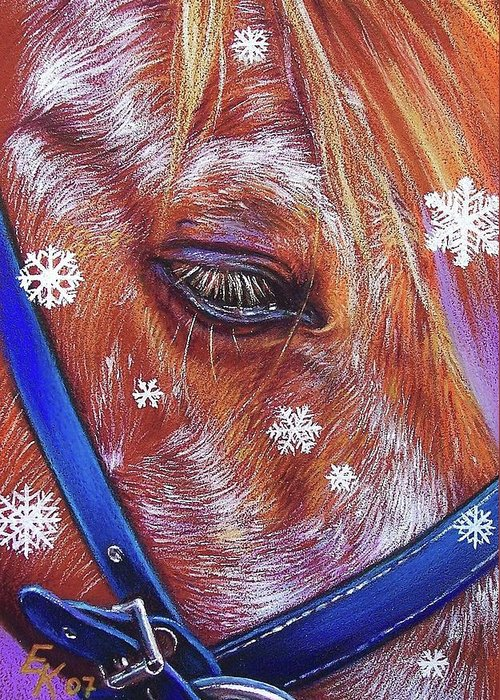 Horse Aninal Portrait Equine Snowflakes Art Pony Greeting Card featuring the drawing Snowflakes by Elena Kolotusha