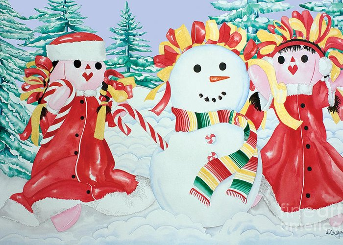 Christmas Cards Greeting Card featuring the painting Snowgirls With Serape Scarf by Kandyce Waltensperger