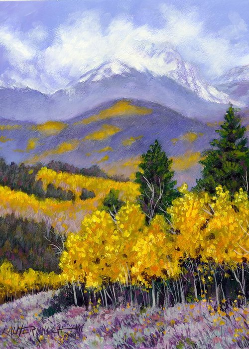 Rocky Mountains Greeting Card featuring the painting Snowing In The Mountains by John Lautermilch