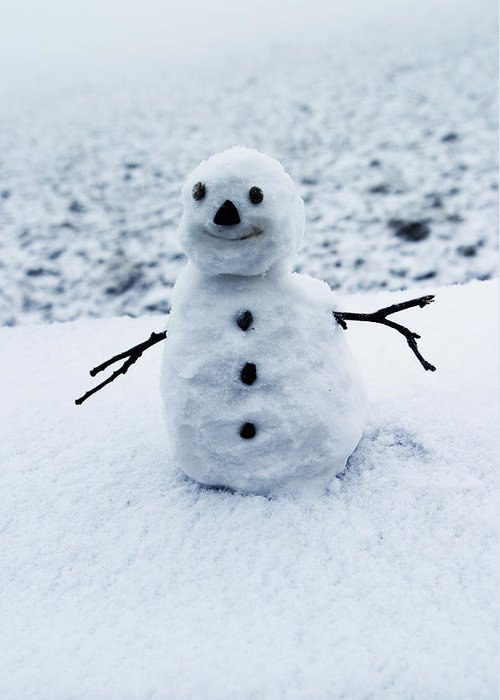 Snowman Greeting Card featuring the photograph Snowman 1 by Brian Middleton