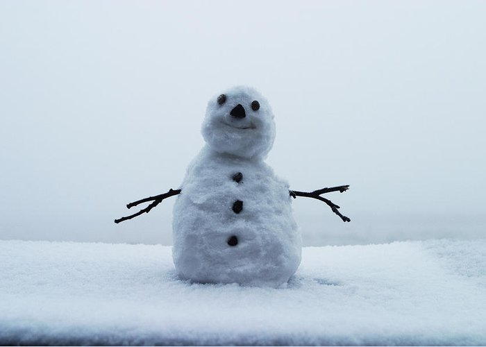 Snowman Greeting Card featuring the photograph Snowman 2 by Brian Middleton