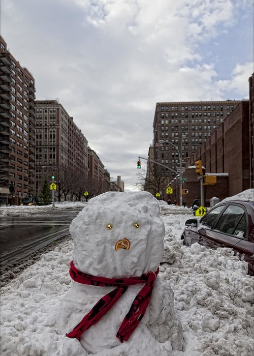 Snow Greeting Card featuring the photograph Snowman 96th Street And Park Avenue 4 by Robert Ullmann