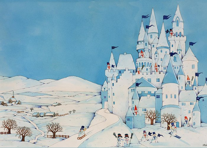 Snowman Castle Greeting Card featuring the painting Snowman Castle by Christian Kaempf