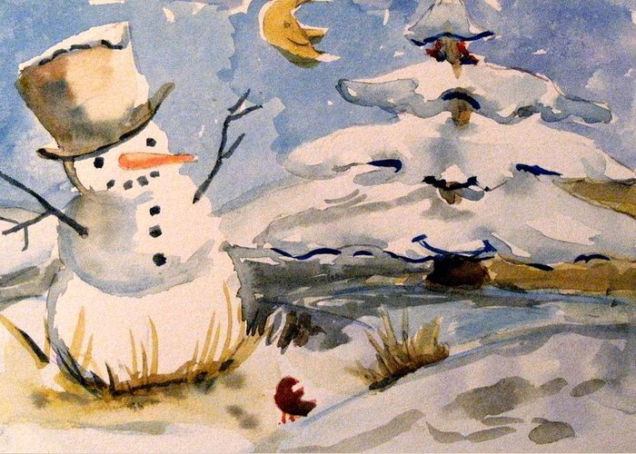Frosty Greeting Card featuring the painting Snowman Hug by Mindy Newman