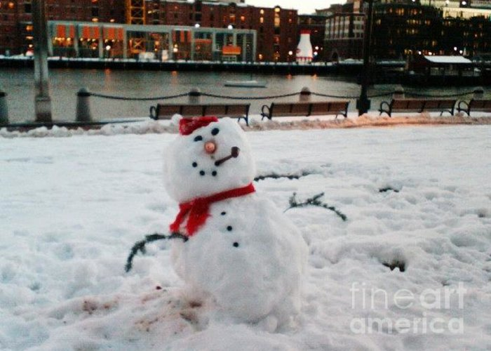Snowman Greeting Card featuring the photograph Snowman In Boston by Dawn Wirth