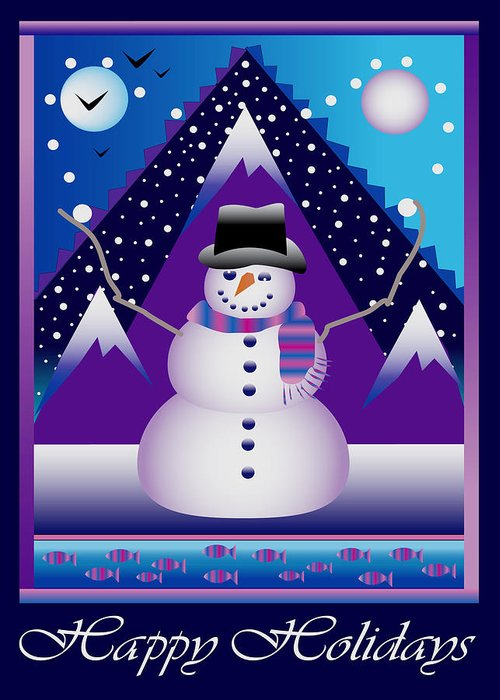 Card Greeting Card featuring the digital art Snowman Juggler by Nancy Griswold