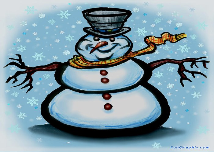 Snowman Greeting Card featuring the greeting card Snowman by Kevin Middleton
