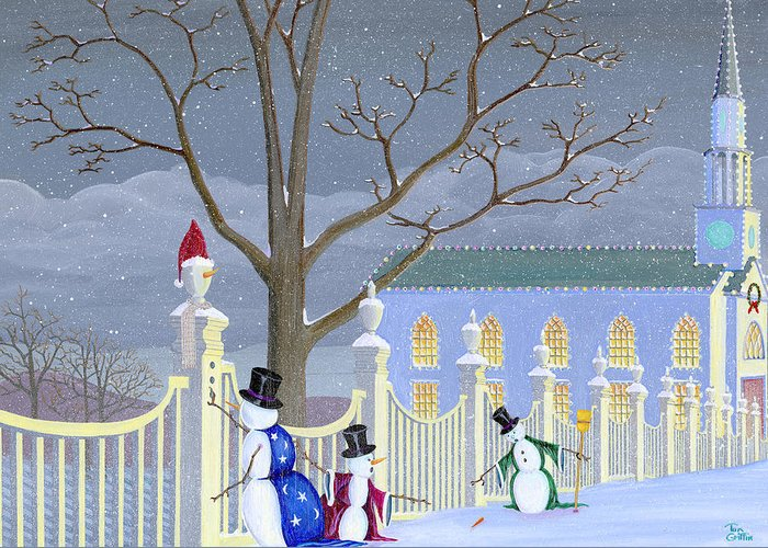 Snowman Greeting Card featuring the painting Snowmen In Vermont by Thomas Griffin