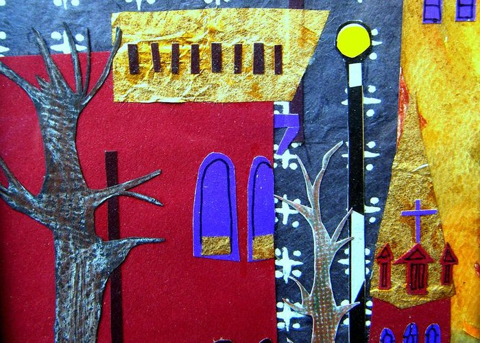 City Greeting Card featuring the mixed media Snowstorm Backbay by Debra Bretton Robinson