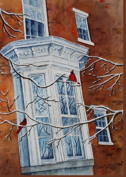 Architectural Landscape Greeting Card featuring the painting Snowy Bay by Patsy Sharpe