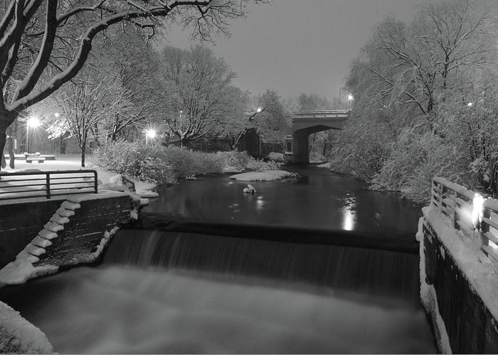 Petoskey Michigan Greeting Card featuring the photograph Snowy Bear River by Russell Todd