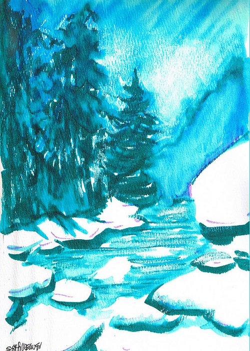 Chilling Greeting Card featuring the mixed media Snowy Creek Banks by Seth Weaver