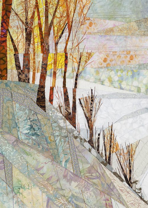 Tree Greeting Card featuring the tapestry - textile Snowy Dawn by Linda Beach