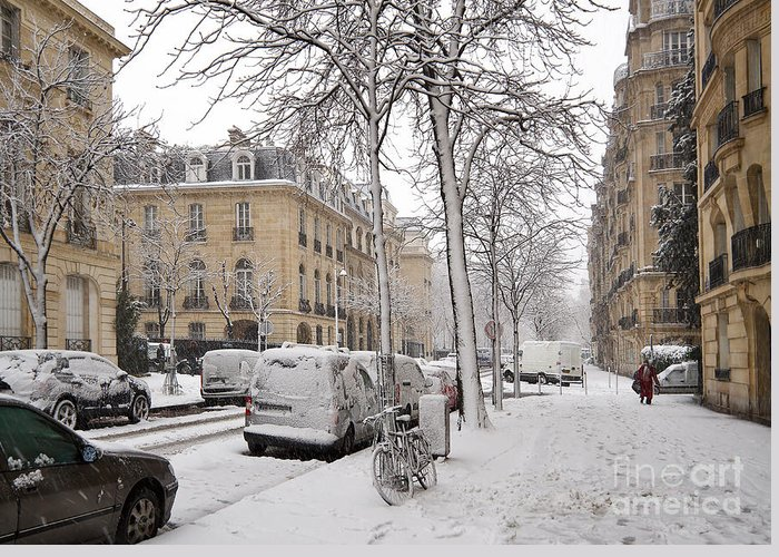 Bicycle Greeting Card featuring the photograph Snowy Day In Paris by Louise Heusinkveld
