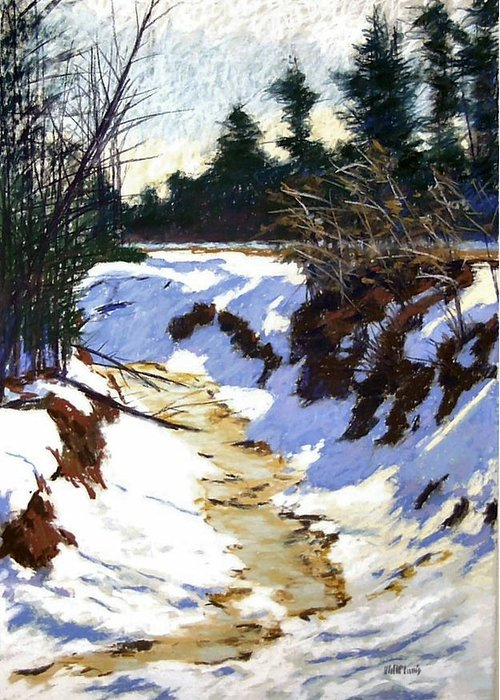 Pastel Greeting Card featuring the painting Snowy Ditch by Mary McInnis