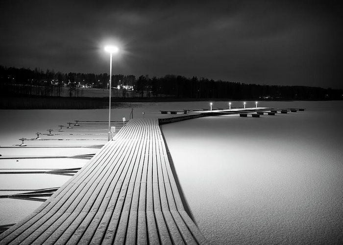 Dock Greeting Card featuring the photograph Snowy Dock by Toni Rantanen