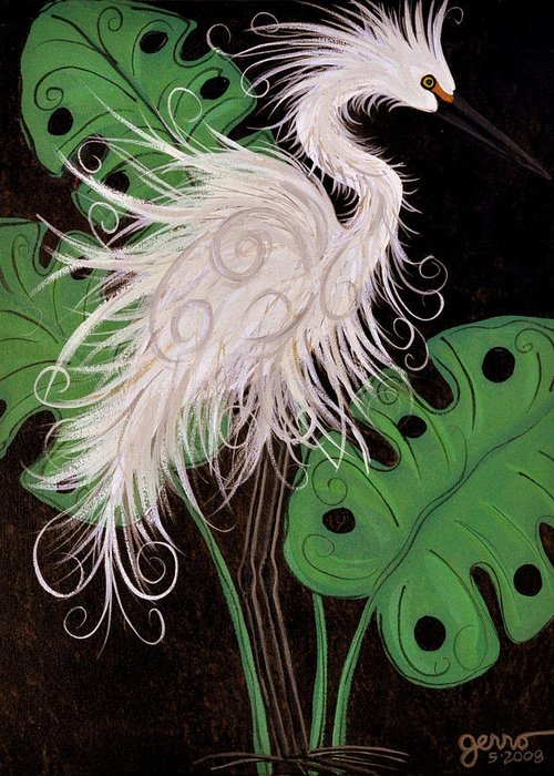 Snowy Egret Artwork Greeting Card featuring the painting Snowy Egret Deco by Helen Gerro
